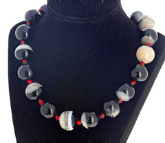 Black and White Natural Onyx Necklace
