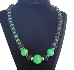 Unique Green Turquoise and Black Onyx Necklace