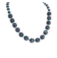 Glowing Blue Tiger Eye and Turquoise Necklace