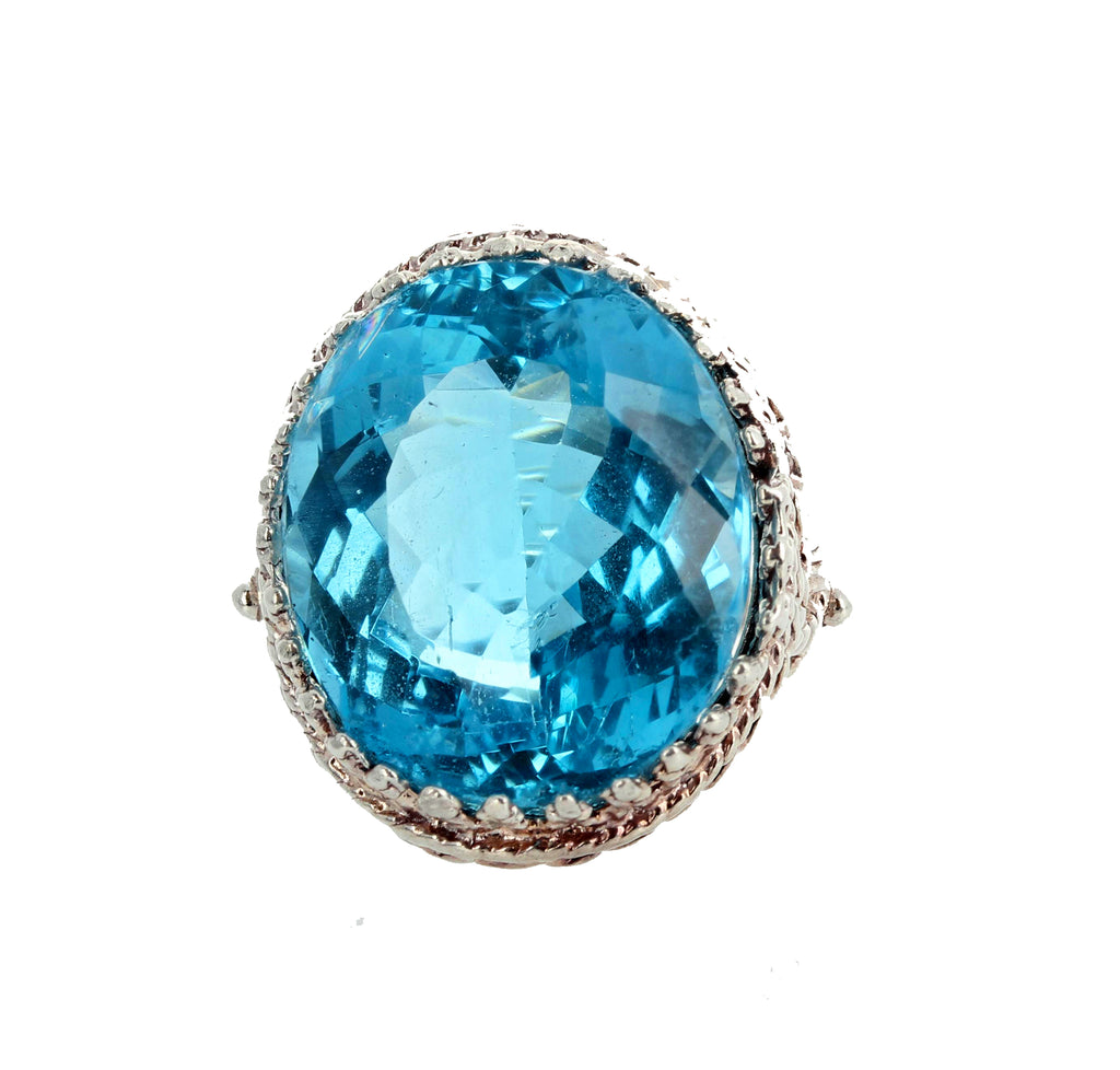 22.5 Carat Blue Topaz Sterling Silver Ring