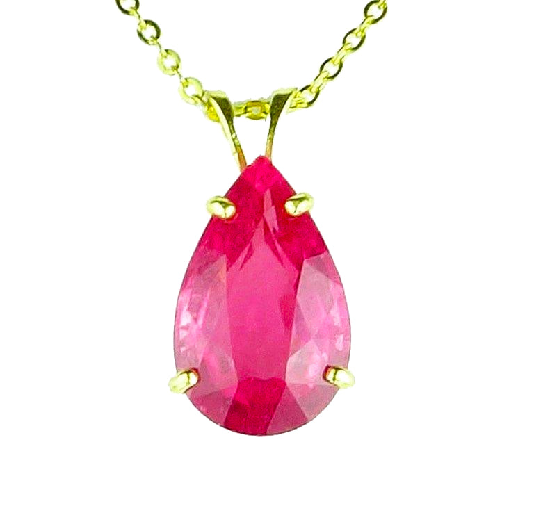 Pink Tourmaline 14K Gold Cocktail Pendant