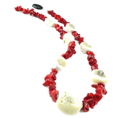 Necklace of White Coral and Polished Chips of Red Coral