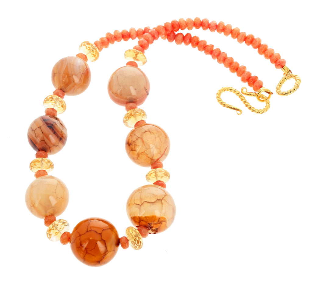 Agate and Carnelian and Citrine Handmade Necklace
