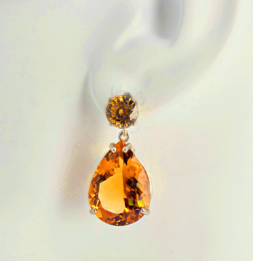 Cambodian Zircons and Citrine Sterling Silver Earrings