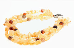 Citrine and Spider Web Jasper Triple Strand Necklace