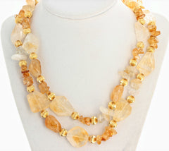 Unique Statement Double Strand Citrine Druzy Quartz Clasp Necklace
