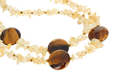 Double Strand Citrine and Tiger Eye Artistic Necklace