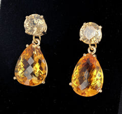 Citrine & Zircon Dangle Gold Stud Earrings