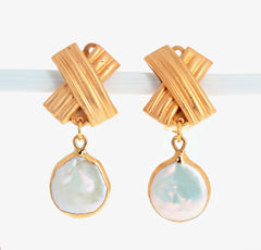 Clip-on Vermeil Pearl Earrings