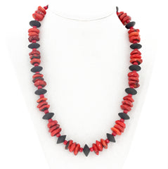 Bamboo Coral and Black Onyx Necklace