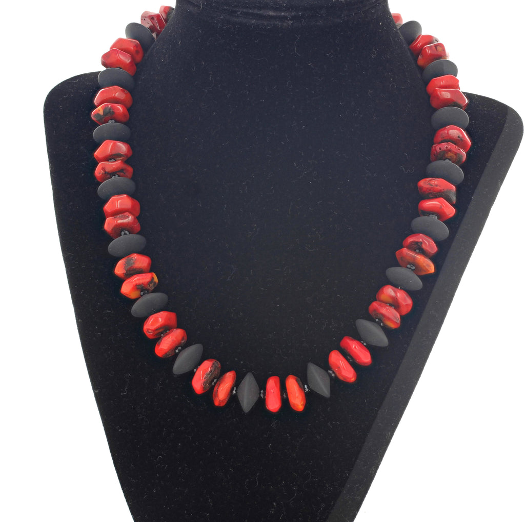 Unique Bamboo Coral and Black Onyx Necklac