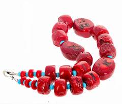 Unique Bamboo Coral and Turquoise Necklace