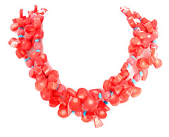 Artistic Elegant Orange Coral and Turquoise Double Strand Necklace