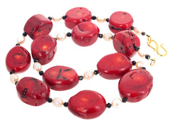 Bamboo Coral and Pearls Necklace