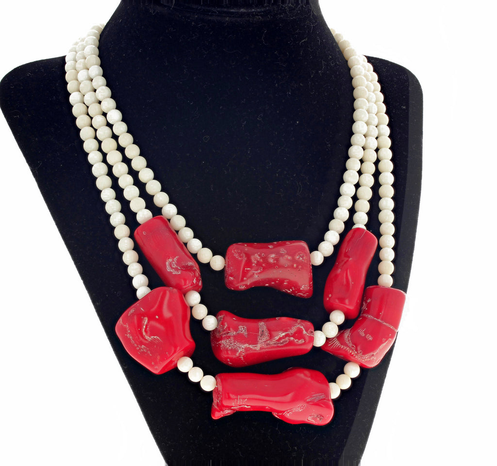 Red Coral and White Coral Triple Strand Necklace