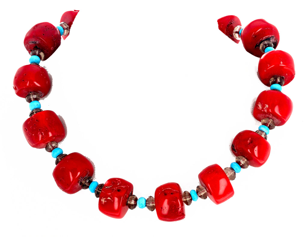 Bamboo Coral, Smoky Quartz and Turquoise Necklace