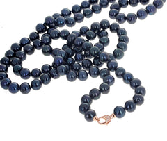 Dark Bluish Fireball Pearl Necklace with Diamond Gold Plated Clasp
