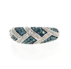 Blue Diamond and White Diamond Ring
