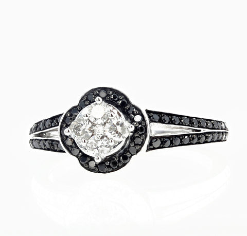 White Diamond and Black Diamond Ring