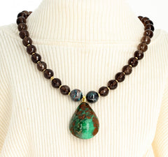 Emerald, Chrysocolla and Smoky Quartz Necklace