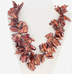 Coppery Flip Flop Freshwater Pearl Necklace