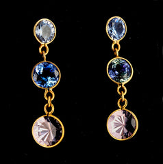 Sapphire and Morganite Gold Stud Earrings