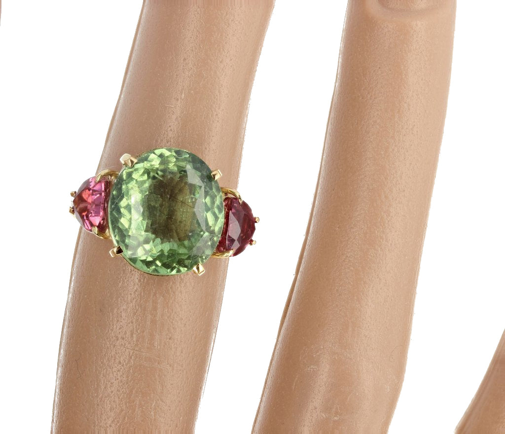 Tourmaline and Tourmaline 18K Yellow Gold Ring