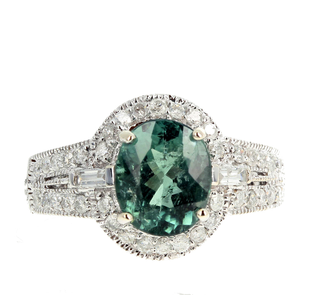 2 Carat Green Tourmaline and Diamond Ring