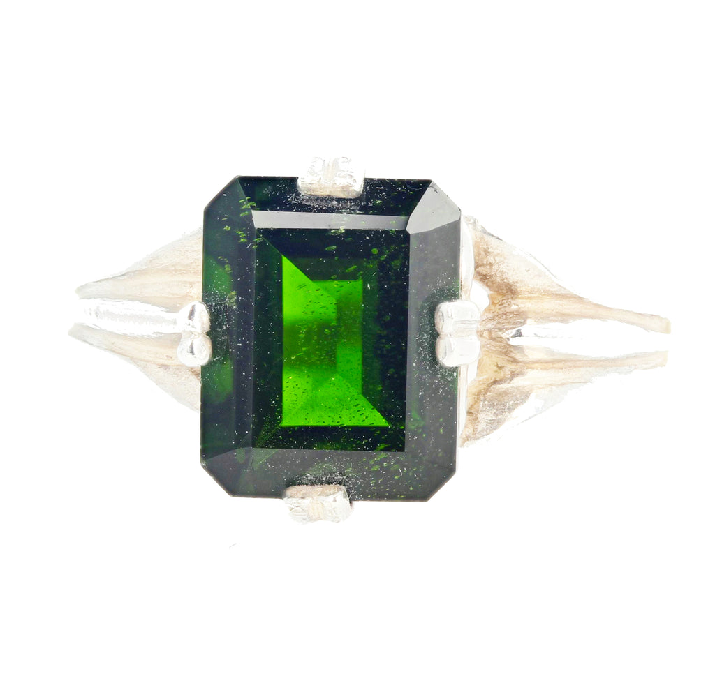 2.8 Carat Chrome Diopside Sterling Silver Ring