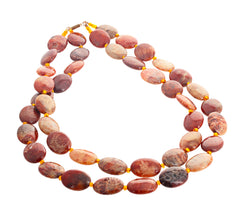 Fascinating Natural Polished Jasper and Hessonite Necklace