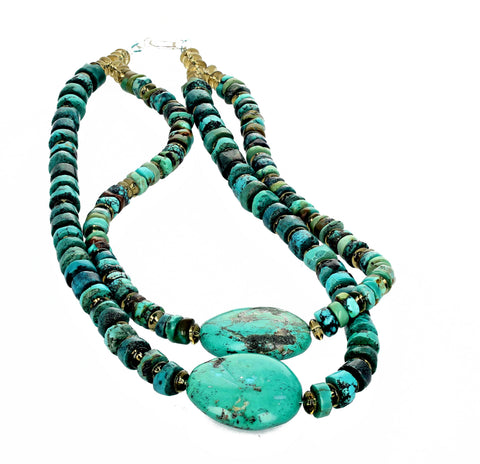 Turquoise and Citrine Gemstone Necklace