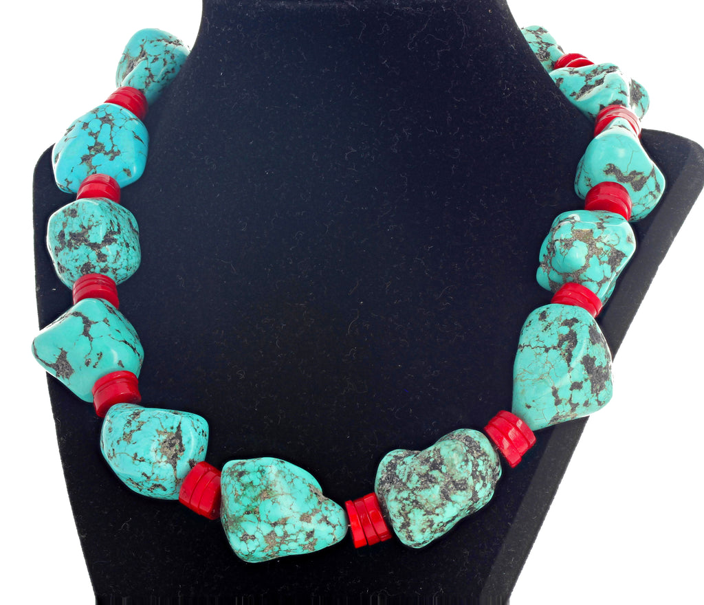 Howlite Turquoise and Natural Red Coral Necklace