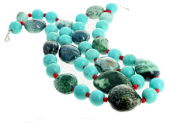 Green Canadian Jade, Turquoise, and Coral Double Strand Necklace