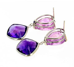 Unique Kunzites Dangle Amethysts in Stud Earrings