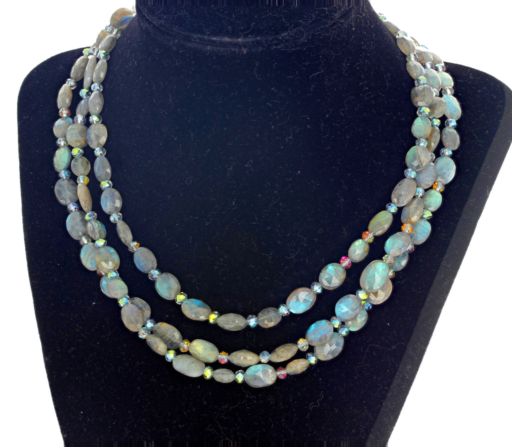 Brilliant Triple Strand Natural Labradorite Necklace