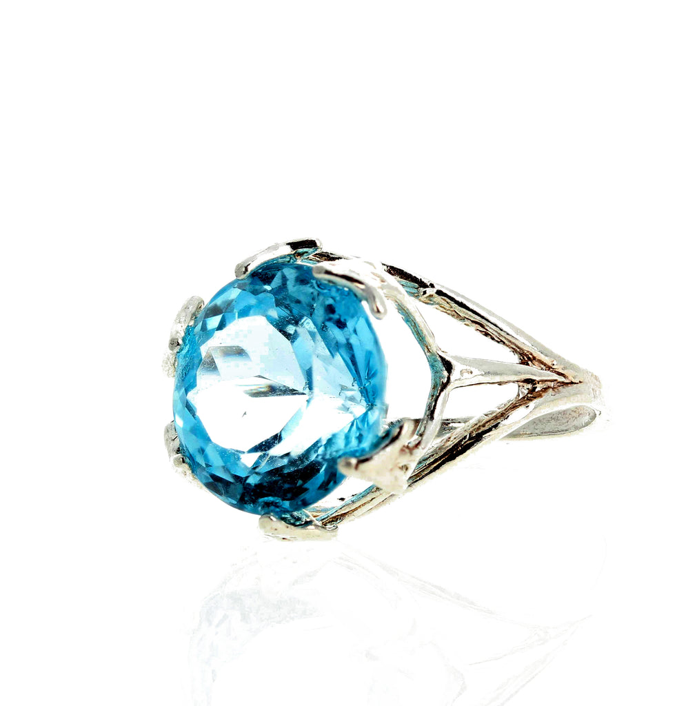Natural Sky Blue Topaz Sterling Silver Ring