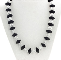 Black Onyx and Clear Bright Quartz Necklace