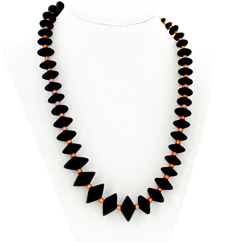 Handmade Black Onyx and Crystal Necklace