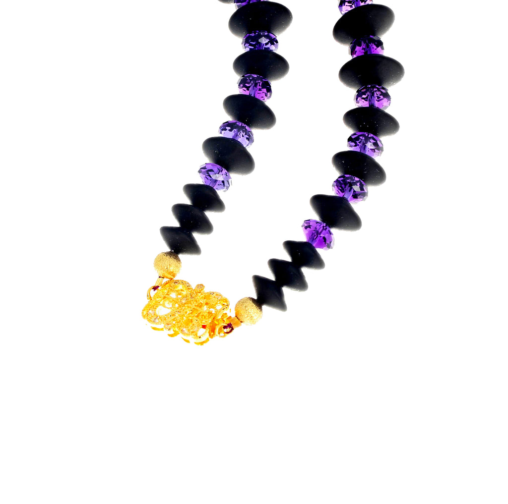 Black Onyx and Sparkling Amethyst Necklace