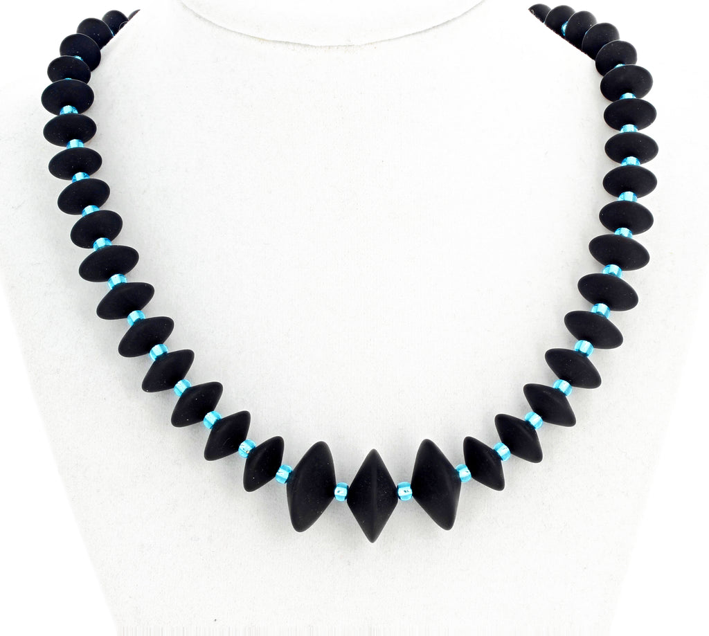 Black Onyx and Crystal Necklace