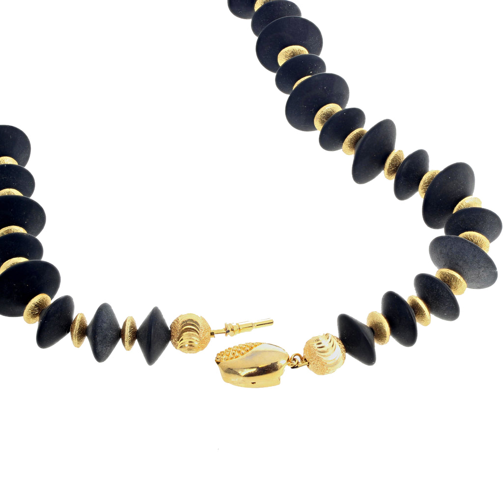 Goldy Rondels and Black Onyx Necklace
