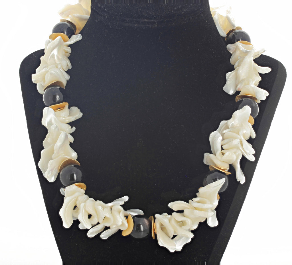 Dramatic Pearl Shell and Chocolate Moonstone Necklace