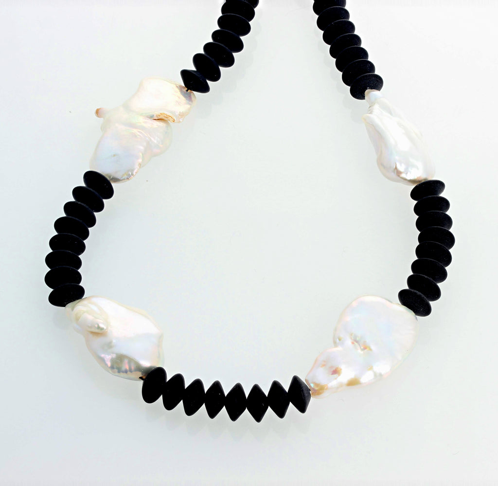 Black Onyx and Cultured Pearl Necklace