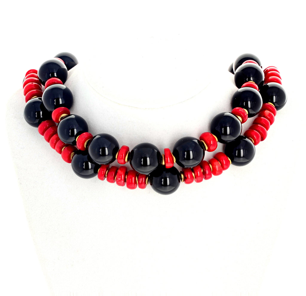 Red Coral and Black Onyx Double Strand Necklace