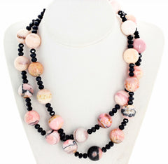 Double Strand Peruvian Opals and Sparkling Black Spinel Necklace