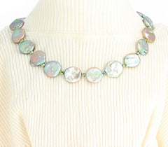 Multi-color Reflections Coin Pearls Necklace