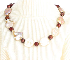 Coin Pearls and Copper Pearls Necklace