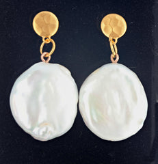 Coin Pearl Gold Plated Stud Earrings
