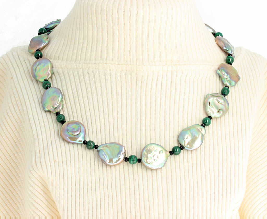 Coin Pearls, Malachite, Spinel Necklace