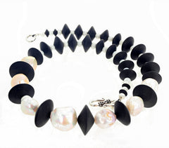 Large Cultured Pearls and Black Onyx Necklace